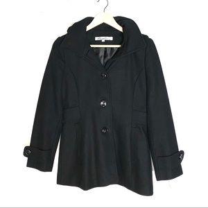 Kenneth Cole black wool blend pea coat